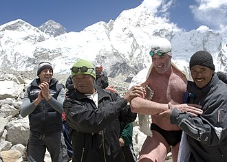 Lewis Pugh -  Pugh completing a 1km swim across a glacial lake on Mt Everest