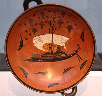 Ancient Greece and wine - Wine in Greece was never far from its mystical connection to the cult of Dionysus: Attic black-figure kylix, ca 530 BC, depicting Dionysus aboard the vine-entangled ship among his would-be abductors transformed to dolphins.