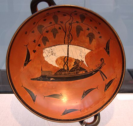 Wine in Greece was never far from its mystical connection to the cult of Dionysus: Attic black-figure kylix, ca 530 BC, depicting Dionysus aboard the vine-entangled ship among his would-be abductors transformed to dolphins.