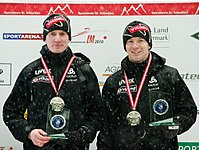 FIL European Luge Natural Track Championships 2010 - Men's Double Prize Giving Ceremony 2nd place.jpg