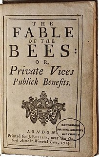<i>The Fable of the Bees</i> 1714 book by Bernard Mandeville