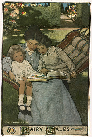 Children's literature - A mother reads to her children, depicted by Jessie Willcox Smith in a cover illustration of a volume of fairy tales written in the mid to late 19th century.
