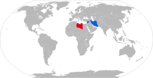 Fajr-5 - Map with Fajr-5 operators in blue with former operators in red