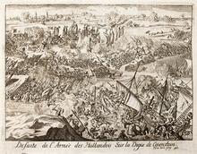 Defeat of the rebels on the Kouwensteinsedijk near the pontoon bridge, 26  May 1585. Lamberecht Causé in Famiano Strada Histoire de la guerre des Païs  Bas, ...