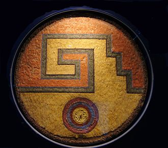 "Featherwork - Aztec feather shield 'meander and sun"" (around 1520, Landesmuseum Württemberg)"
