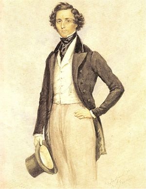 Felix Mendelssohn Bartholdy, water color by Ja...
