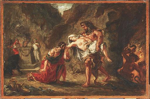 Ferdinand-Victor-Eugène Delacroix - Hercules and Alcestis - Google Art Project