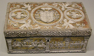 Pastiglia - The casket made for Cardinal Bernardo Clesio, whose arms allow it to be dated to 1530-38, V&A