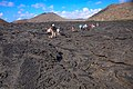 Final land excursion to Isla Bartomome and the lava beds on the E coast of Isla San Salvadore - our group picks its way accross the lava field (16665201356).jpg