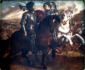 Jerusalem Delivered - Clorinda attacks Tancredi, one of a series by Paolo Domenico Finoglia