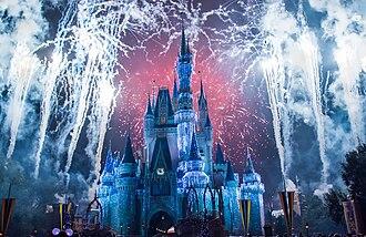 Cinderella Castle - Fireworks surround Cinderella Castle, dressed for Winter (December 2013)