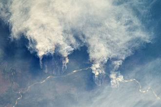 Natural capital - Fires along the Rio Xingu, Brazil - NASA Earth Observatory. Loss of natural capital assets may have significant impact on local and global economies, as well as on the climate.