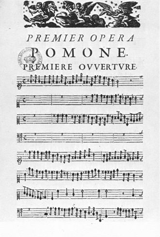 Pomone (opera) - First page of the score