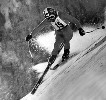 Ski racer Franz Klammer won a gold medal at the 1976 Winter Olympics in Innsbruck. Fischer Sports franz-klammer 1976.jpg
