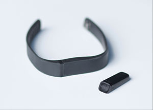 Fitbit - The Fitbit Flex, with the functioning unit out of the replaceable wristband.