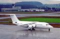 Flightline BAe 146-200; G-OZRH@ZRH;03.02.1996 (6083528715).jpg