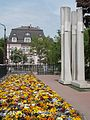 Floral garden and monument next to the Fasori Lutheran Church. Opp. Villa also a listed monument ID 7952 at Budapest District VI. Városligeti fasor. 14.JPG