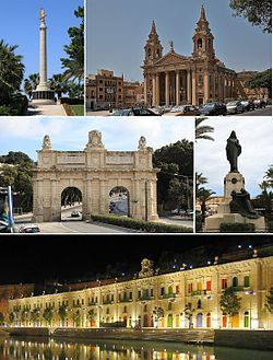 From top: Malta Memorial, St. Publius Parish Church, Porte des Bombes, Christ the King Monument, Valletta Waterfront