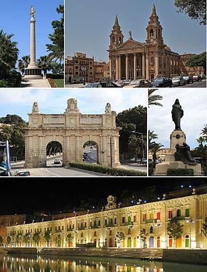 Floriana - From top: Malta Memorial, St. Publius Parish Church, Porte des Bombes, Christ the King Monument, Valletta Waterfront