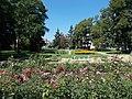 Flower bed and Spring statue, 2020 Zalaegerszeg.jpg