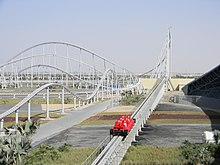 Looking along Formula Rossa's launch track where a train is being launched