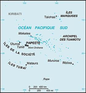 Carte de la Polynésie française avec l'archipel de la Société.