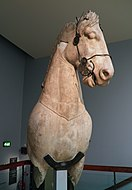 Fragmentary horse from the colossal four-horses chariot group which topped the podium of the Mausoleum at Halicarnassus, Mausoleum at Halicarnassus, British Museum (8245662728).jpg