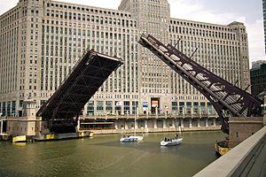 Franklin Street Bridge - The bridge raised for sailboats