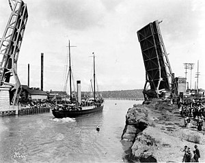 Fremont Cut - The Fremont Bridge at the opening of the Lake Washington Ship Canal, July 4, 1917