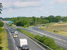 L'autoroute A26 à son croisement avec l'A2, près de Cambrai