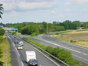 Cambrai - The A26 autoroute at its intersection with the A2, near Cambrai