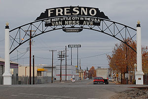 a foggy day at the Van Ness Avenue Arch. Fresn...