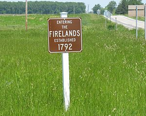Firelands - Firelands sign along Ohio State Route 4 in Sherman Township, Huron County, Ohio