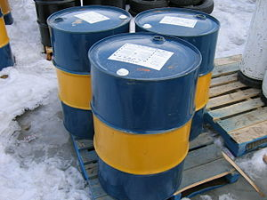 Drum (container) - Steel drums used as shipping containers for chemicals and other liquids.