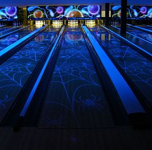 """Southern Illinois University Carbondale - """"Glow bowling"""" at the SIU Student Center bowling alley."""