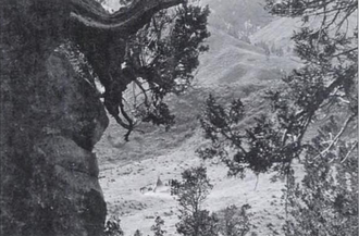 """Iron Springs, Colorado - Valley of springs where Ute came to hunt and take the mineral springs. The center of the photograph shows a """"lone encampment"""" of Ute Native Americans, between 1874 and 1879."""