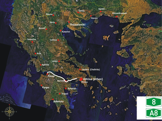 Motorway 8 (Greece) - Image: GR A8 course