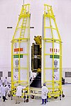GSLV-F08 Heat-shield is being closed with GSAT-6A Satellites inside.jpg