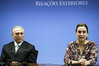 Gabriela Michetti - Michetti and then Vice-President of Brazil, Michel Temer in the Itamaraty Palace, Brasilia, 2015.