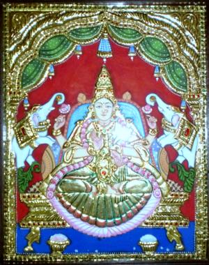 Gajalakshmi - Goddess Gajalakshmi in Tanjore Painting