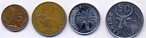 Gambian dalasi - 5, 10, 25, 50 butut coins