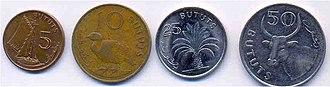 Gambian dalasi - 5, 10, 25, 50 bututs coins
