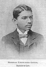 A portrait of Gandhi, age 21, at The Vegetarian (1891).