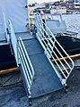 """Gangway (in Norwegian """"landgang"""") of MS «Tranen» (catamaran ferry, 2006) at Nattrutekaien in Leirvik, Stord, Norway. 2018-03-10 b.jpg"""