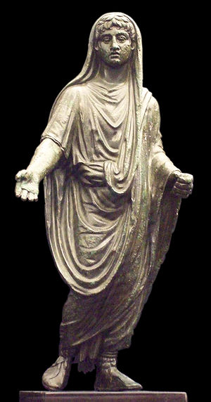 Genius (mythology) - Bronze genius depicted as pater familias (1st century CE)