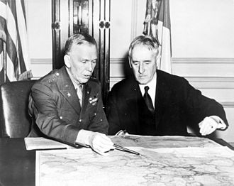 Douglas MacArthur's escape from the Philippines - The Chief of Staff of the United States Army, George C. Marshall (left) confers with the Secretary of War, Henry L. Stimson, in January 1942