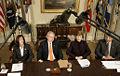 George and Laura Bush attend a briefing on volunteerism.jpg