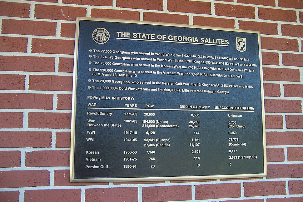 Georgia war casualties and U.S. POW-MIA figures plaque