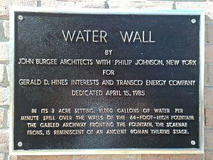 Gerald D. Hines Waterwall Park - Plaque describing the Water Wall.