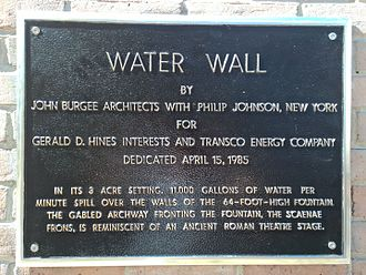 Gerald D. Hines Waterwall Park - Plaque describing the Water Wall.